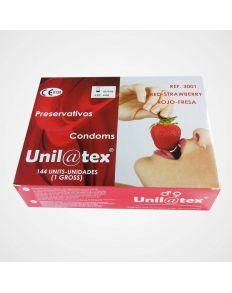 UNILATEX PRESERVATIVOS ROJOS/FRESA 144 UDS
