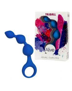 TIRA ANAL SILICONA TRIBALL AZUL 15 CM