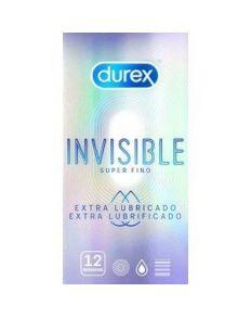 DUREX INVISIBLE EXTRA FINO EXTRA LUBRICADO 12 UDS